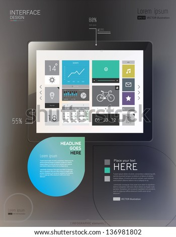 Tablet with interface template and abstract Infographic elements. Vector illustration/eps 10