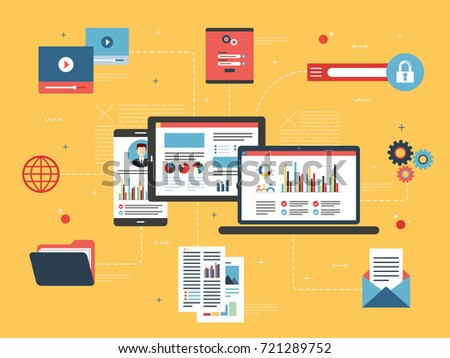 Tablet with performance analysis, laptop and internet screen with data, search icons and project management, application developments. Concept for successful business in flat vector design.