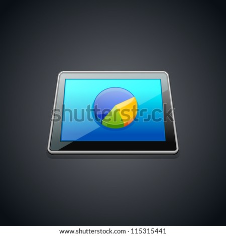 Tablet with statistics  pie graphic chart  icon.Vector illustration