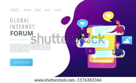 Tablet with users communicating and speech bubbles. Global internet communication, social media and network technology, chat, message and forum concept, violet palette. Website landing web page.
