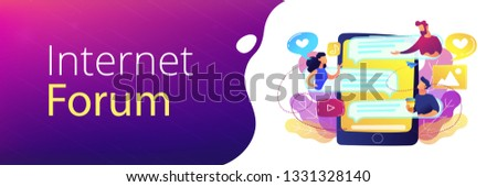 Tablet with users communicating and speech bubbles. Global internet communication, social media and network technology, chat, message and forum concept, violet palette. Header or footer banner.