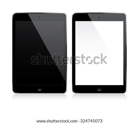 Tablet with white and black screen