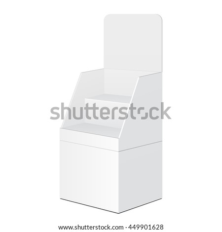 Tabletop Stand, Cardboard Floor Display Rack For Supermarket Blank Empty Displays With Shelves Products Mock Up On White Background Isolated. Ready For Your Design. Product Advertising Vector