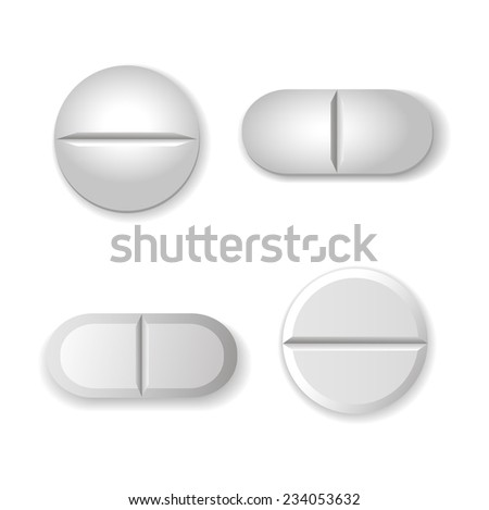 tablets and pills vector set