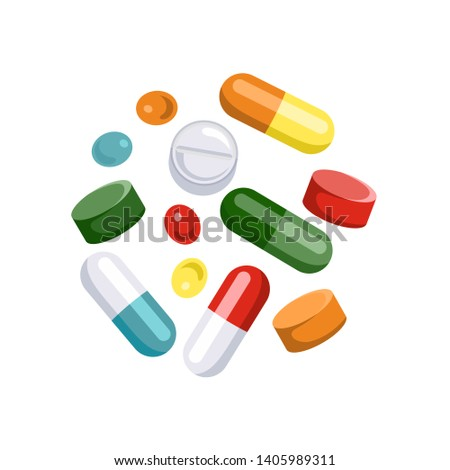 Tablets of different colors and shapes. Icons of pills, capsules isolated on white background. Vector illustration of medical drugs in cartoon simple flat style.