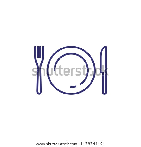 Tableware line icon. Dinner, utensil, table setting. Restaurant concept. Vector illustration can be used for topics like food, kitchen equipment, catering