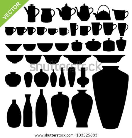 Tableware silhouette vector