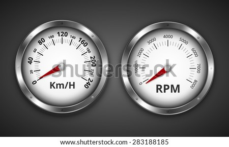 Tachometer graduated to 8000 rpm and speedometer up to 240 km/h retro vintage boat or car  gauges. Vector illustration Stock fotó ©