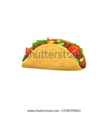 Taco, fast food icon, menu snack, Mexican cuisine sandwich, vector isolated. Fastfood restaurant and street food snack meals, taco tortilla with meat with vegetables, delivery of takeaway food