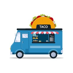 Taco food truck isolated on white background. Fast food truck in cartoon style