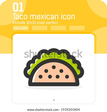 Taco mexican food vector icon with line color style isolated on white background. illustration trendy element thin lineal color symbol icon for ui, ux, website, food, logo, mobile apps and all project Foto stock ©
