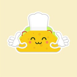 taco with chef hat character. cute and kawaii delicious tacos with beef or chicken, meat sauce, green salad and red tomato. Taco for restaurant or cafe event design. mexican food