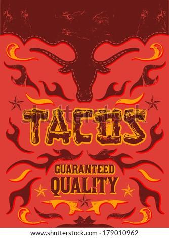 tacos   grunge   vintage vector ...