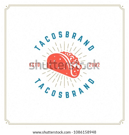 Tacos logo design vector illustration. Hot dog sausage silhouette, good for restaurant menu and cafe badge. Vintage typography logotype template.