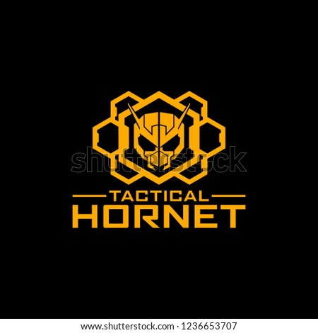 Tactical Hornet Hexagon military logo design