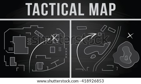 Tactical map of the fighting, Strategy, Vector illustration on the chalkboard background ストックフォト ©