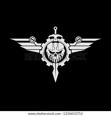 tactical skull sword wings logo