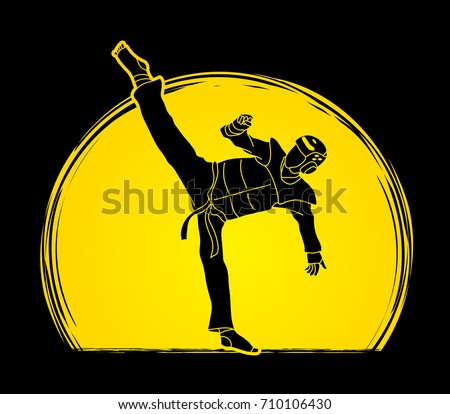 Taekwondo kick action with guard equipment designed on moonlight background graphic vector.