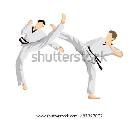 Taekwondo sport athletes. Men in uniform posing.