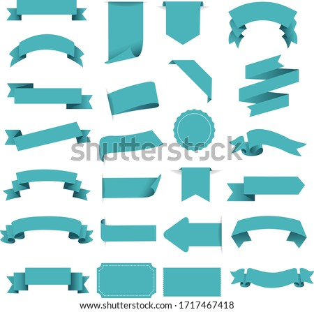Tag And Ribbon Isolated White Background With Gradient Mesh, Vector Illustration