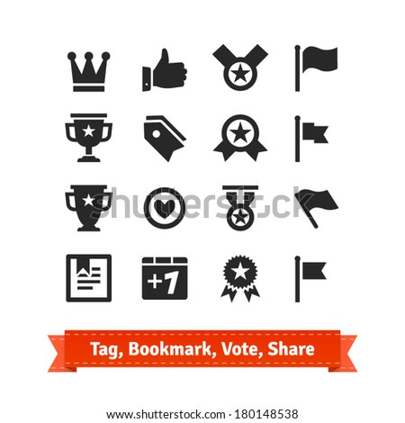 Tag, Bookmark, Vote, Share icon set. Various vector signs of approval.