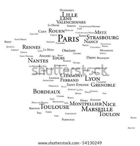 Tag cloud - France's larger cities