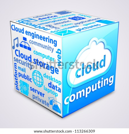 Tag cloud inside a cube about cloud computing concept.