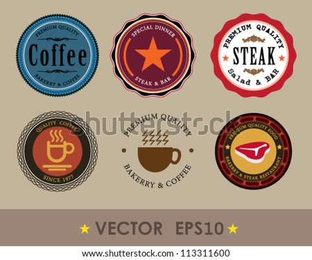 Tag coffee and steak, Set of vintage retro labels, stamps, ribbons, marks and calligraphic design elements, vector