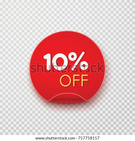 Tag, discount sticker isolated on transparent background. Vector sale label, retail badge or special offer. Red promotion campaign icon, 10% off, price tag for your advertising design.