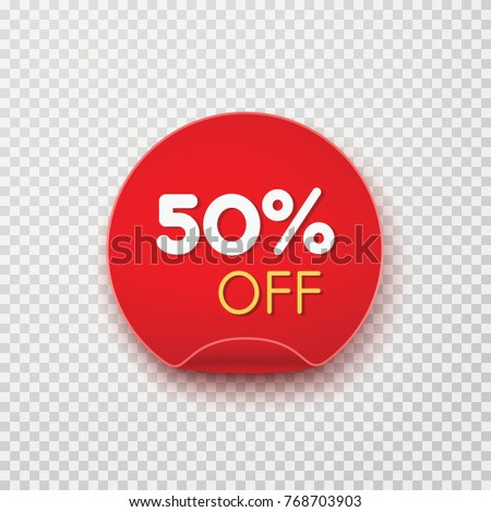 Tag, discount sticker isolated on transparent background. Vector sale label, retail badge or special offer. Red promotion campaign icon, 50% off, price tag for your advertising design.
