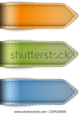 Tag labels made of leather. Arrows. Design templates. Vector illustration