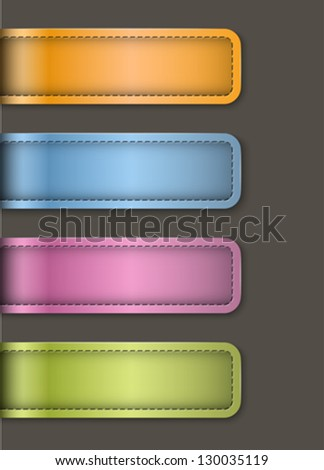 Tag labels made of leather. Banners on black background. Design templates. Vector illustration