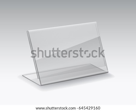 Tag price. Blank acrylic or  plexiglass table card holder isolated on grey background. Vector empty glass stand display. Clear plastic tag holder mockup or shelf talker for your advertising design.