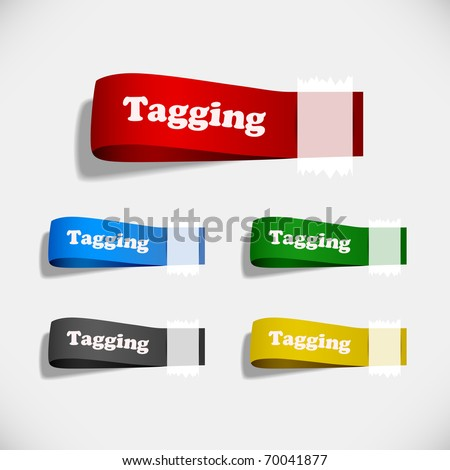 Tag Sticker Label Plaster Shadow - stock vector