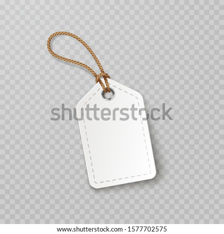 Tag with rope isolated on transparent background. Cardboard label, paper sale or gift empty sticker and string. Vector blank realistic price tag, promo offer mockup.  Photo stock ©