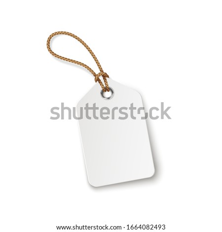 Tag with rope isolated on white background. Luggage label, paper sale or gift empty sticker and string. Vector blank realistic price tag, promo offer mockup.  Photo stock ©