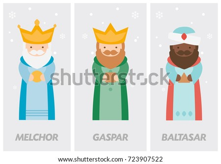 Tags of the three wise men, Melchior, Caspar and Balthazar written in Spanish
