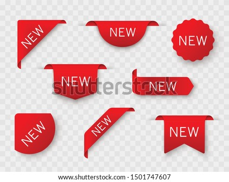 Tags set. New tag red ribbon and banner - stock vector.