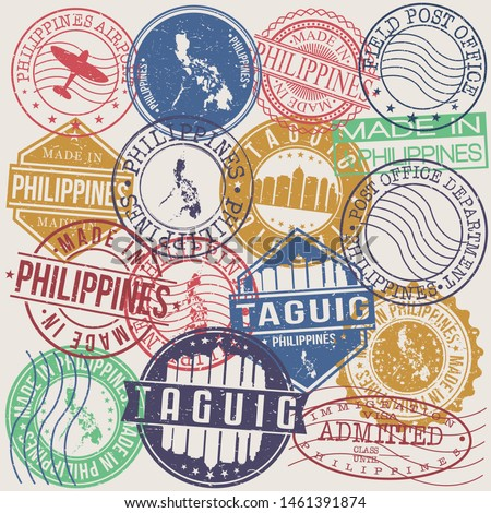 Taguig Philippines Set of Stamps. Travel Stamp. Made In Product. Design Seals Old Style Insignia.