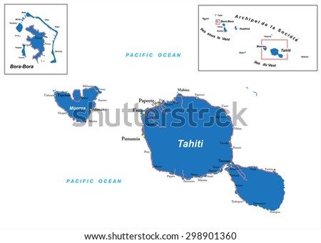 tahiti and bora bora map