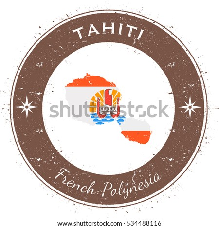 tahiti circular patriotic badge