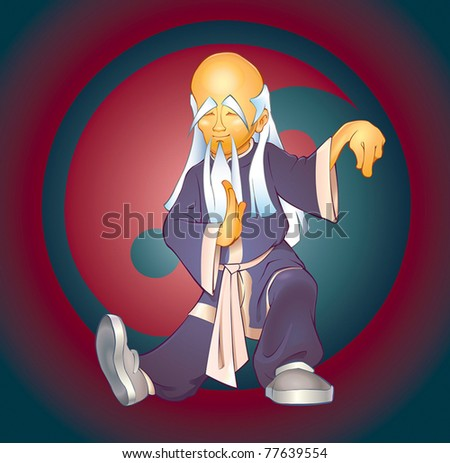 Tai Chi Master.Vector Illustration of an asian expert of tai chi martial art in a typical body position against Yin-Yang symbol