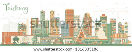 Taichung Taiwan City Skyline with Color Buildings. Vector Illustration. Business Travel and Tourism Concept with Historic Architecture. Taichung China Cityscape with Landmarks.