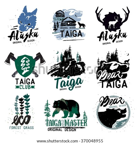 taiga logo sign. forest...