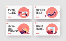 Tailor Character Repair Clothes, Atelier Design Landing Page Template Set. Tiny Dressmakers Create Outfit and Apparel on Huge Sewing Machine, Textile Craft Business. Cartoon People Vector Illustration