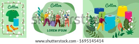 Tailor cotton thread vector illustration. Tiny cartoon seamstress, woman man tailor character holding spool thread for sewing, people with cotton branch, sock or clothes. Tailoring people banner set