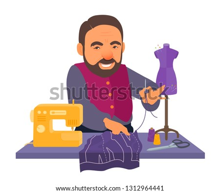 Tailor holding thread with needle, smiling. Fabric cutting, pattern, sewing machine, mannequin, scissors, spools on the work table. Vector cartoon flat style illustration isolated on white background.