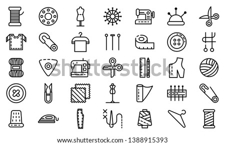 Tailor icons set. Outline set of tailor vector icons for web design isolated on white background Сток-фото ©