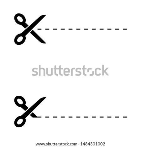 Tailor scissors. Cutting paper icon. Trimming tool. Open sharp blades illustration. Flat web symbol.