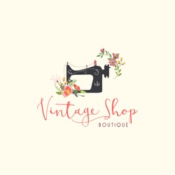 Tailor Sewing Vintage, Fashion, Floral, Retro Logo, Sign, Icon Template